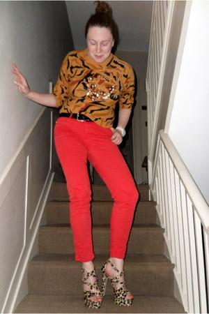mustard charity shop sweater - red Zara pants - black charity shop belt - mustar