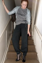 silver Topshop cardigan - heather gray Rodarte t-shirt - black H&M pants - black