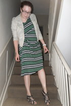 green COS dress - ivory River Island jacket - charcoal gray Solea sandals