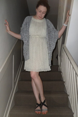 ivory H&M dress - silver whistles cardigan - black Topshop sandals