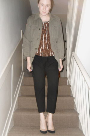 green army surplus jacket - brown Marni top - black whistles pants - beige Topsh