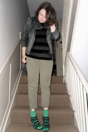 black Topshop jacket - black Topshop t-shirt - black Topshop vest - dark khaki Z