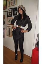 H&M shirt - H&M hat - H&M belt - Marc Jacobs bracelet - Moow shoes - H&M legging