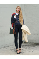 navy American Apparel blouse - navy American Apparel jeans - navy Marni heels