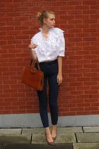 white vintage shirt - brick red vintage bag - navy American Apparel pants