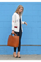 burnt orange Zara bag - navy American Apparel jeans - ivory vintage cardigan