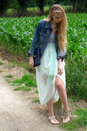 navy vintage jacket - aquamarine American Apparel skirt - periwinkle American Ap