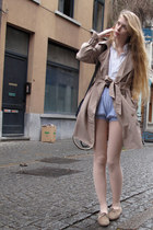 beige vintage coat - white American Apparel shirt - sky blue American Apparel sh