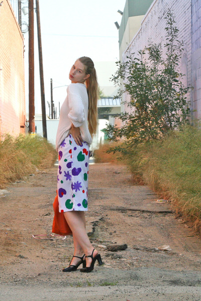 purple vintage skirt - white American Apparel sweater