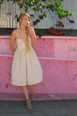 silver lowrysfarm boots - brown APC purse - ivory American Apparel skirt