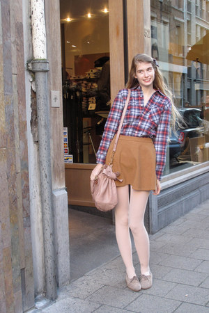 blue American Apparel shirt - camel American Apparel skirt