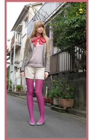 H&M scarf - vintage blazer - Mouth sweater - Comme a ISM shorts -  stockings - o