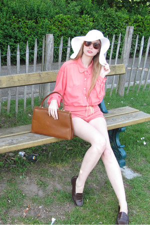 white H&amp;M hat - salmon American Apparel shirt - burnt orange vintage bag - coral