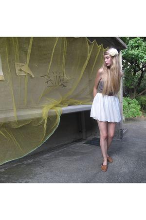 white American Apparel skirt - brown American Apparel top - beige Zara shoes - y