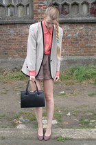 beige vintage jacket - hot pink American Apparel shirt - black vintage bag