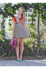 Beige-uniform-dress-red-american-apparel-top-turquoise-blue-jcrew-flats