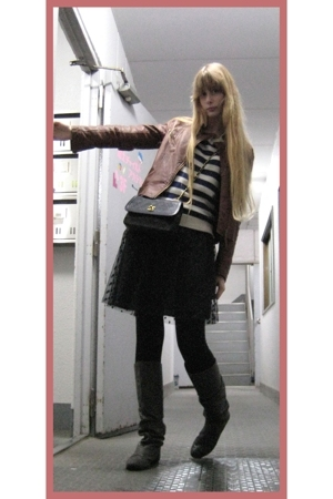 vintage top - vintage skirt - Riche Glamour jacket - Zara boots