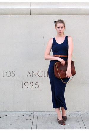 navy los angeles fashion district dress - dark brown APC bag