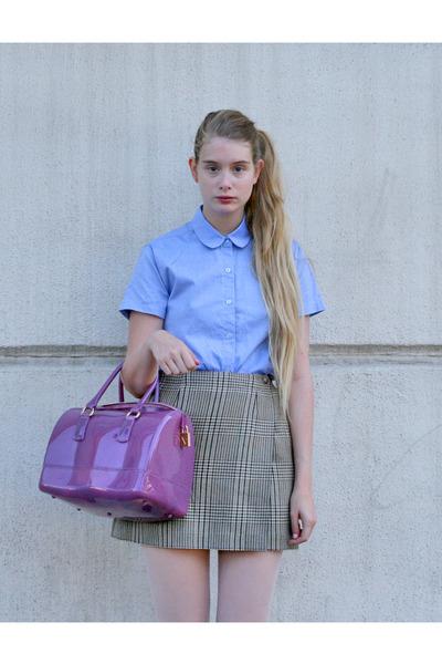 amethyst Furla bag - sky blue American Apparel shirt - camel vintage skirt