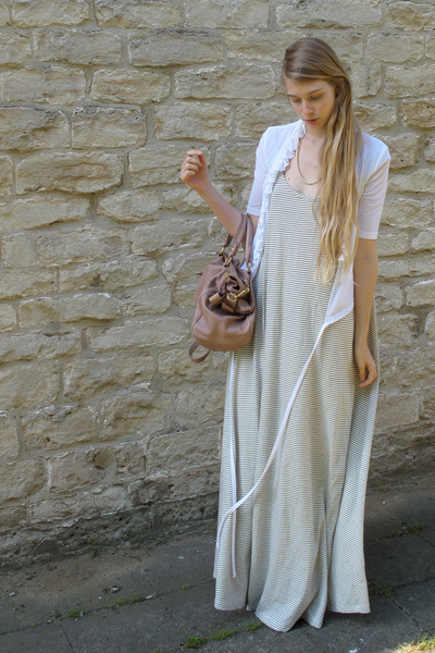 ivory American Apparel dress - light pink Miu Miu bag - white vintage vest
