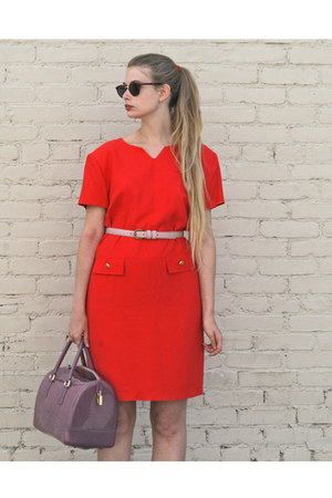 red vintage dress - amethyst Furla bag - light pink American Apparel belt