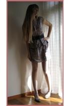 handmade dress - H&M belt - on the coach shoes - handmade coat - Miu Miu purse