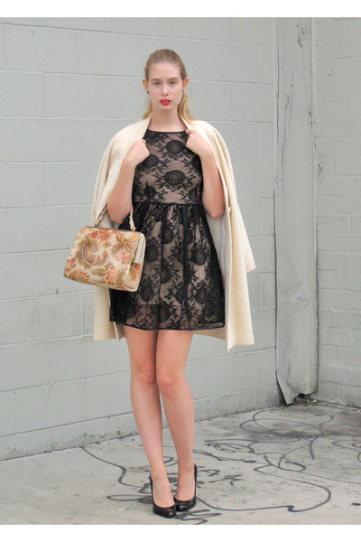 black American Apparel dress - eggshell vintage coat - coral vintage bag