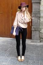 magenta vintage hat - deep purple vintage bag - black American Apparel pants - t