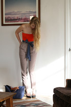 tan American Apparel pants - red American Apparel bodysuit - navy vintage belt