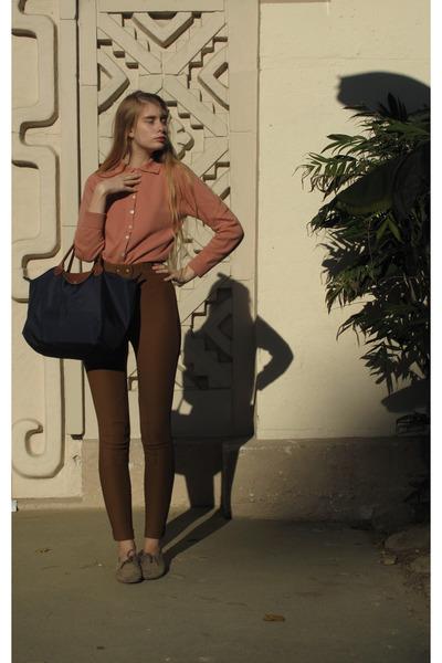 American Apparel shoes - longchamp bag - American Apparel pants - vintage cardig