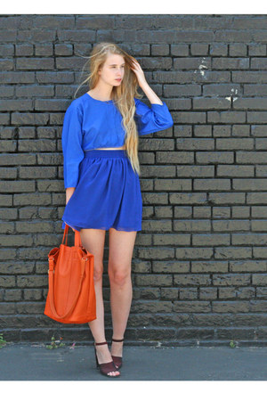 blue American Apparel skirt - carrot orange banana republic bag