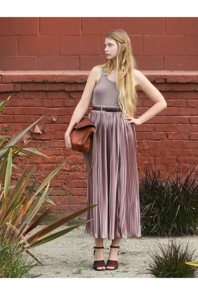 pink American Apparel skirt - puce Petit Bateau top - crimson vintage sandals