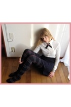 American Apparel skirt - Muji shirt - harajuku socks store stockings - handmade
