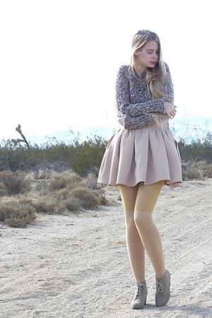 beige Zara skirt - light purple vintage sweater - tan American Apparel tights