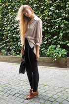 brown vintage boots - silver H&M shirt - black American Apparel pants