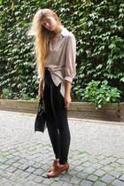 brown vintage boots - silver H&M shirt - black American Apparel pants