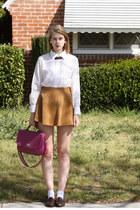 camel American Apparel skirt - white vintage shirt