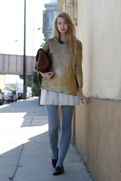 camel Zara sweater - sky blue American Apparel tights - brown APC bag