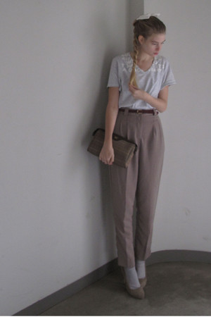 gray maison martin margiela t-shirt - brown American Apparel pants - brown Burbe