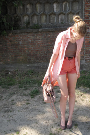 light pink H&M shirt - light pink Miu Miu bag - coral American Apparel shorts -