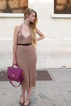 magenta from meyondong market bag - nude American Apparel dress
