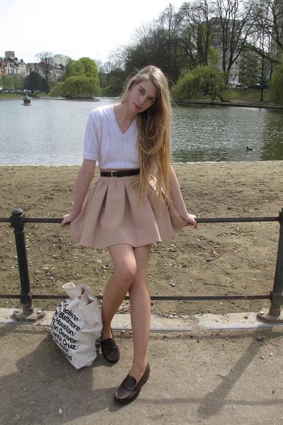 dark brown Haruta loafers - white vintage sweater
