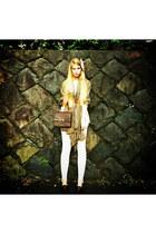 dark khaki Zara scarf - off white Zara leggings - crimson Celine bag