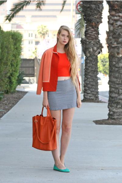 red vintage jacket - red American Apparel top - navy vintage skirt