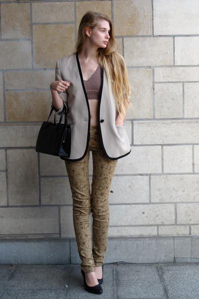 camel Promod pants - silver vintage jacket - black vintage bag