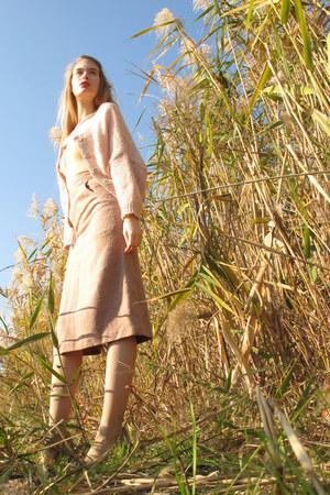 light pink H&M cardigan - nude American Apparel top - peach vintage skirt