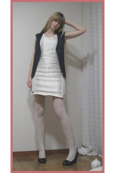 Mikio Sakabe dress - H&M stockings - vintage vest - vintage blazer - Newlook sho