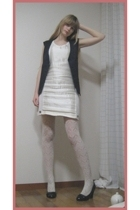 Mikio Sakabe dress - H&M stockings - vintage vest - vintage blazer - Newlook sho