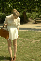 brown Cecil boots - burnt orange vintage purse - ivory American Apparel skirt -