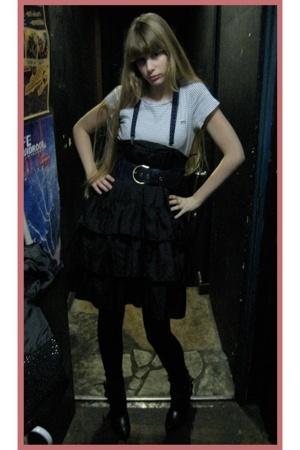 Mango t-shirt - vintage skirt - H&M belt - handmade coat - vintage blazer - Chan